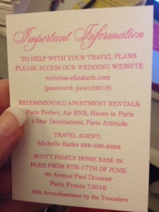 Actual enclosure card from the invitations to my wedding in Paris, France on June 15, 2013.